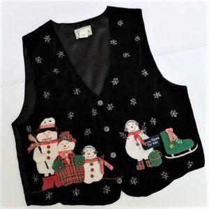 Vintage Ugly Christmas Sweater Vest TanTrums L
